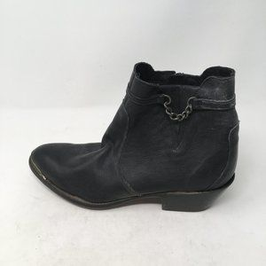 DURANGO BLACK LEATHER WESTERN ANKLE BOOTS 9.5M